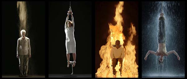 a photograph of Martyrs by Bill Viola, taken from his website. Exhibited at St Paul's Cathedral, London